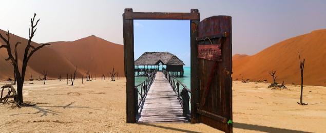 Tor in der Wüste, das einen Weg eröffnet