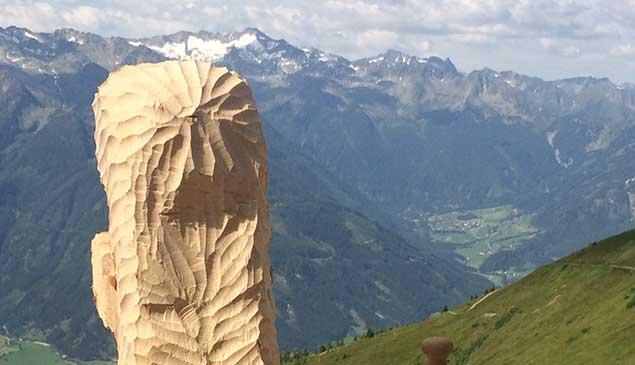 Holzarbeit vor Bergkulisse